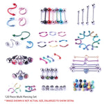 BodyJ4You 120 PCS Body Piercing Lot Belly Ring Labret Tongue Eyebrow Tragus Barbells 14G 16G RANDOM Mix Jewelry - BodyJ4you