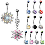 BodyJ4You 12PC Belly Button Rings 14G Dangle Crystal Flower Stainless Steel Navel Piercing Jewelry Set - BodyJ4you