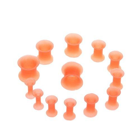 BodyJ4You 12PC Ear Plug Set Thin Silicone Double Flared Flexible Ear Stretching Tunnels Gauges Kit 8G-00G - BodyJ4you