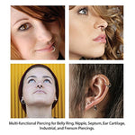 BodyJ4You 12PC Horseshoe Piercing Ring Hoop 16G Surgical Steel Nose Septum Tragus - BodyJ4you