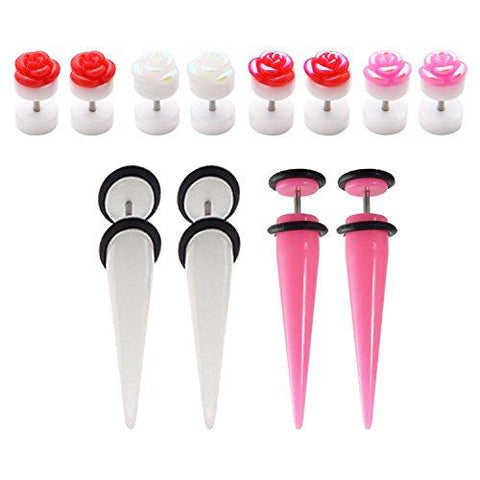 BodyJ4You 12PCS Fake Ear Tapers and Plugs Set Rose Flower Earring Screw Stud Cheater Gauges Jewelry - BodyJ4you