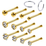 BodyJ4You 14PC Nose Hoop Rings 20G Stainless Steel Silver Nose Pin Bone Studs Piercing Jewelry - BodyJ4you