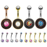 BodyJ4You 14PCS Belly Button Ring Created-Opal Vintage Sheild Navel Body Piercing Jewelry Set 14G - BodyJ4you