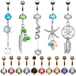 BodyJ4You 15 Belly Button Rings Dangle Barbells 14G Multicolor Surgical Steel CZ Navel Body Jewelry - BodyJ4you