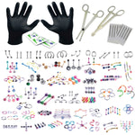 BodyJ4You 156PC Body Piercing Kit Lot 14G 16G Belly Ring Labret Tongue Tragus RANDOM Mix Jewelry - BodyJ4you
