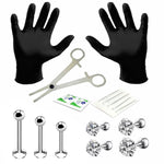 BodyJ4You 15PC PRO Piercing Kit Steel 16G CZ Labret Tragus Lip Monroe Stud Barbell Body Jewelry - BodyJ4you
