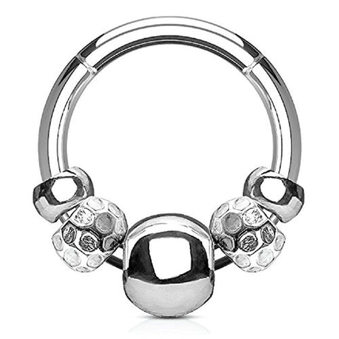 BodyJ4You 16G (1.2mm) Nose Hoop Seamless Hinged Segment Ring Disco Beads Surgical Steel Septum - BodyJ4you