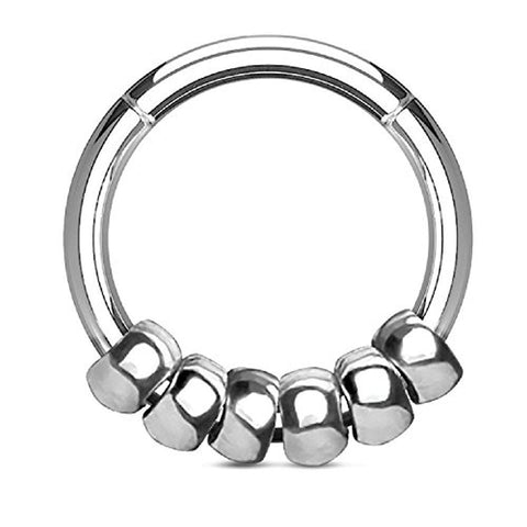 BodyJ4You 16G (1.2mm) Seamless Hinged Hoop Segment Ring Silvertone Beads Surgical Steel Septum - BodyJ4you
