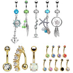 BodyJ4You 17 Belly Button Rings Dangle Bar 14G Steel Created-Opal Mix CZ Navel Body Jewelry - BodyJ4you