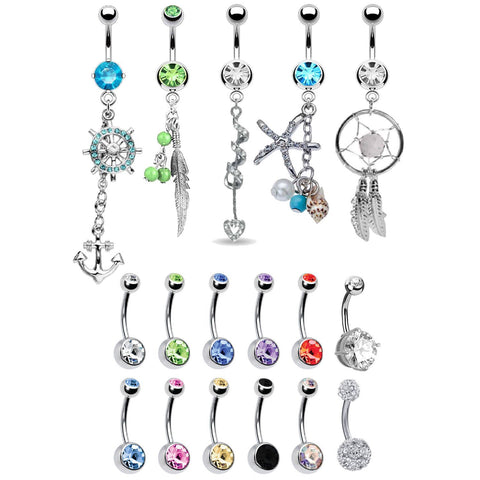 BodyJ4You 17 Belly Button Rings Dangle Barbells 14G Steel CZ Crystals Navel Body Jewelry - BodyJ4you