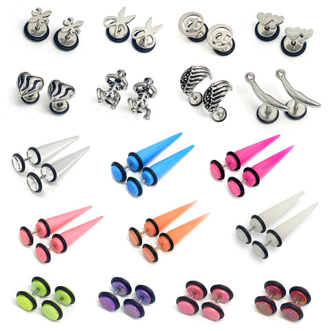 BodyJ4You 18PC Imitation Plugs Tapers Ear Cheater 00G Look 16G Hearts Scissors Wing Hearts Glossy - BodyJ4you