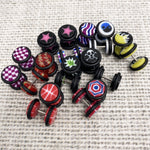 BodyJ4You 18PC Imitation Plugs Tapers Ear Cheater 00G Look 16G logo Star Skull Spider Star Dice Pirate - BodyJ4you