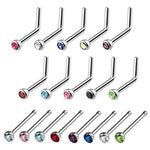 BodyJ4You 18PCS Nose Rings 20G Bone Pin and L-Shaped Stud Nostril Crystals Surgical Steel Piercing Jewelry - BodyJ4you