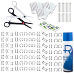BodyJ4You 200PC Body Piercing Kit Lot 14G 16G Belly Ring Labret Tongue Tragus Barbells Saline Spray - BodyJ4you