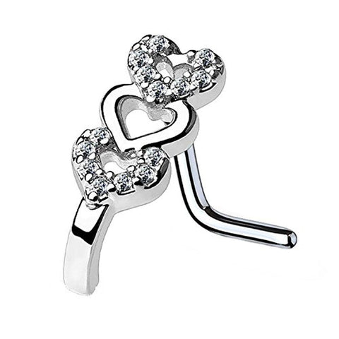 BodyJ4You 20G (0.8mm) Nose Ring L-Shape Stud CZ Paved Heart Surgical Steel Silvertone Nostril Jewelry - BodyJ4you