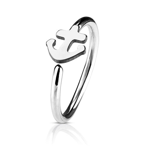 BodyJ4You 20G (8mm) Nose Hoop Surgical Steel Silvertone Anchor Body Jewelry Piercing Gauge Ring Unisex - BodyJ4you