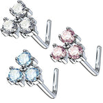 BodyJ4You 20G Nose Ring L-Shape Bend Stud Clear CZ Flower Surgical Steel Nostril Body Piercing - BodyJ4you