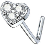 BodyJ4You 20G Nose Ring L-Shape Bend Stud Clear CZ Heart Surgical Steel Nostril Body Piercing - BodyJ4you