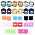 BodyJ4You 28PC Tunnels Screw Fit Double Flare Plugs 4G-16mm Steel Silicone Ear Stretching Gauges Set - BodyJ4you