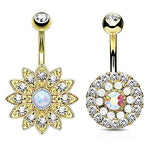 BodyJ4You 2PC Belly Button Rings Flower Tribal Filigree 14G Steel Navel Banana Bar Girl Women Jewelry - BodyJ4you