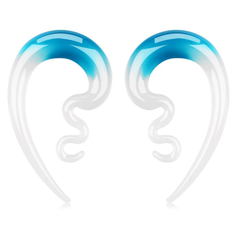 BodyJ4You 2PC Glass Ear Tapers Plugs 00G Aqua White Handmade Hanger Piercing Jewelry Set - BodyJ4you