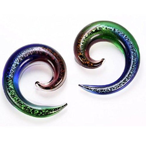 BodyJ4You 2PC Glass Ear Tapers Plugs 4G-12mm Blue Dichroic Glitter Gauges Piercing Jewelry Set - BodyJ4you