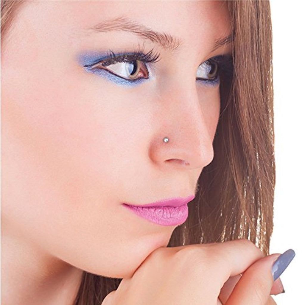 Bodyj4you 2pc Nose Ring Fishtail Stud 18g Bone Crystal Clear Cz