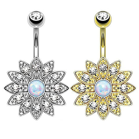 BodyJ4You 2PCS Belly Button Ring Created-Opal Floral Navel Set 14G Gold and Silver Curved Barbell - BodyJ4you