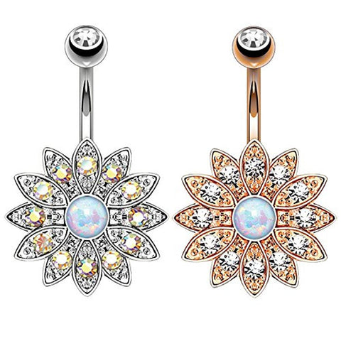 BodyJ4You 2PCS Belly Button Ring Created-Opal Floral Navel Set 14G Rose Gold Curved Barbell (1.6mm) - BodyJ4you