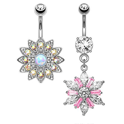BodyJ4You 2PCS Belly Button Ring CZ Floral Set 14G Navel Body Piercing Curved Barbell (1.6mm) - BodyJ4you