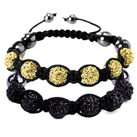 BodyJ4You 2PCS Disco Ball Bracelets 6 Beads Black Yellow Pave Crystals Iced Out Jewelry - BodyJ4you