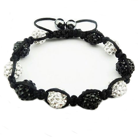 BodyJ4You 2PCS Disco Ball Bracelets 9 Beads Black Clear Pave Crystals Iced Out Jewelry - BodyJ4you