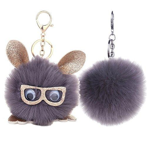 BodyJ4You 2PCS Faux Fur Keychain Pink Pom Pom Fluffy Fox Ball Purse Wallet Car Key Clasp Ring Set - BodyJ4you