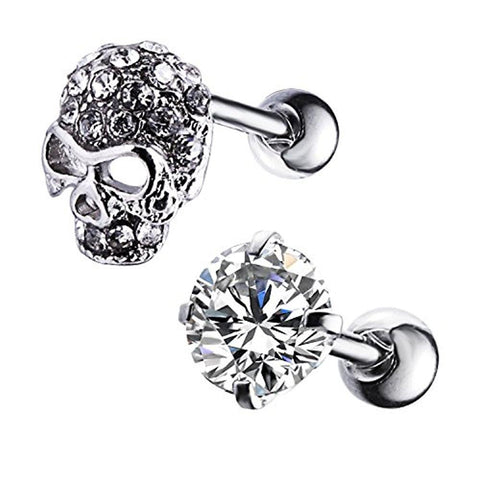 BodyJ4You 2PCS Tragus Piercing CZ Crystal Skull Stud Earring Set 16G Surgical Steel Helix Barbell - BodyJ4you