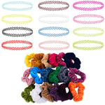 BodyJ4You 32PC Choker Necklace Colorful Hair Bands Set Henna Tattoo Stretch Elastic Jewelry Teen Girl - BodyJ4you