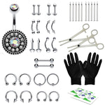 BodyJ4You 36PCS Professional Piercing Kit Steel 14G 16G Flower Belly Ring Tongue Tragus Nipple Lip Nose Jewelry - BodyJ4you