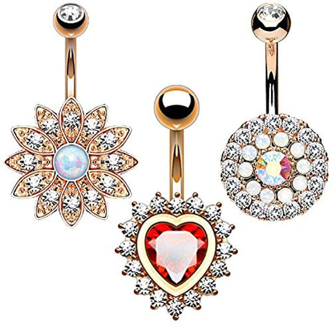 BodyJ4You 3PC Belly Button Rings 14G CZ Crystal Heart Flower Stainless Steel Navel Piercing - BodyJ4you