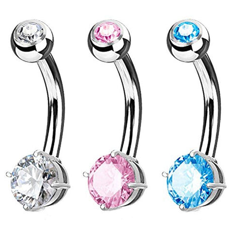 BodyJ4You 3PC Belly Navel Ring Jeweled Prong Set CZ 5mm Surgical Steel Piercing 14G Curved Barbell - BodyJ4you
