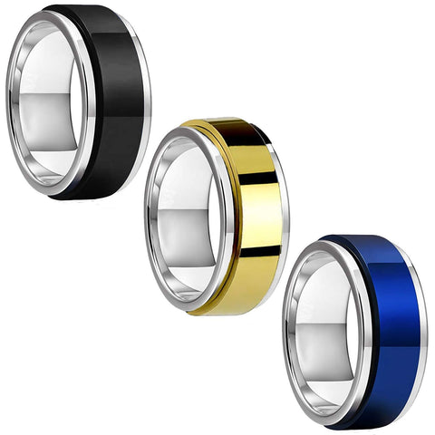 BodyJ4You 3PC Ring Set Spinner Bands Men Women Black Blue Goldtone Size 8-12 Steel Promise Gift - BodyJ4you