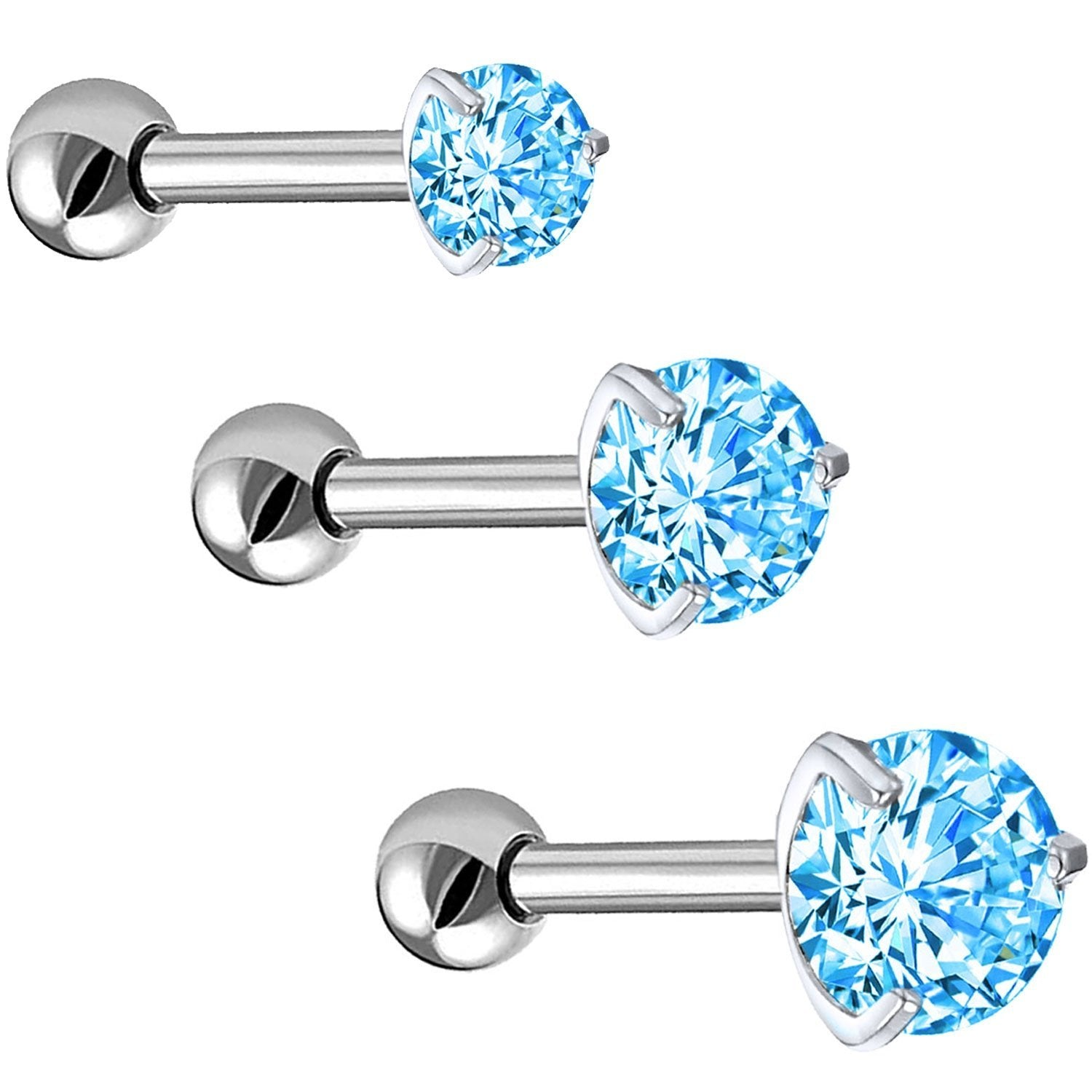 Body Accentz Tragus Barbell Triangle CZ Ribbon 316L Surgical Steel Cartilage//Tra