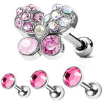 BodyJ4You 3PCS Tragus Piercing Flower CZ Stud Earring Ball 16G Surgical Steel Helix Ear Barbell Set - BodyJ4you