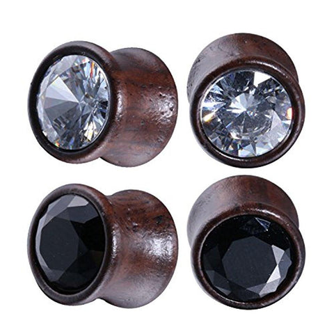 BodyJ4You 4PC Crystal Jeweled Saddle Plugs Natural Wood Ear Gauges Tunnels Stretcher Set 0G-16mm - BodyJ4you