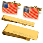 BodyJ4You 4PC Cufflinks Tie Bar Money Clip Button Keep America Great American Flag Gift Box - BodyJ4you
