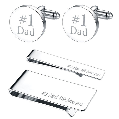 BodyJ4You 4PC Cufflinks Tie Bar Money Clip Button Shirt Father Day Love Best Dad Gift Box Set - BodyJ4you