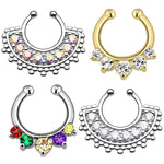 BodyJ4You 4PC Fake Septum Hanger Nose Ring Non-Piercing Multicolor Steel CZ Crystals Piercing - BodyJ4you