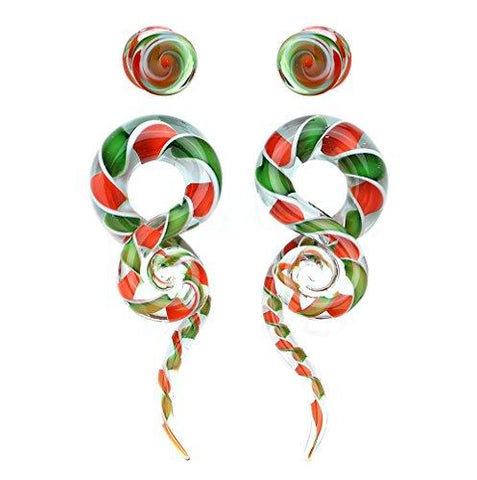 BodyJ4You 4PC Glass Ear Tapers Plugs 4G-14mm Candy Cane Swirl Teardrop Spiral Gauges Piercing Set - BodyJ4you