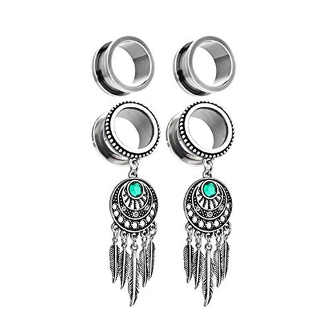 BodyJ4You 4PC Surgical Steel Screw-Fit Gauge Tunnel Tribal Dreamcatcher Dangle Plug Stretcher 4G-16mm - BodyJ4you