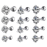 BodyJ4You 4PC Tragus Piercing CZ Round Stud Earring Set 16G Surgical Steel Helix Ear Barbell Pack (1.2mm) - BodyJ4you