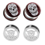 BodyJ4You 4PCS Ear Gauge Glass Plugs Stretching Kit Stainless Steel Sugar Skull Screw Fit Tunnels 2G-16mm - BodyJ4you