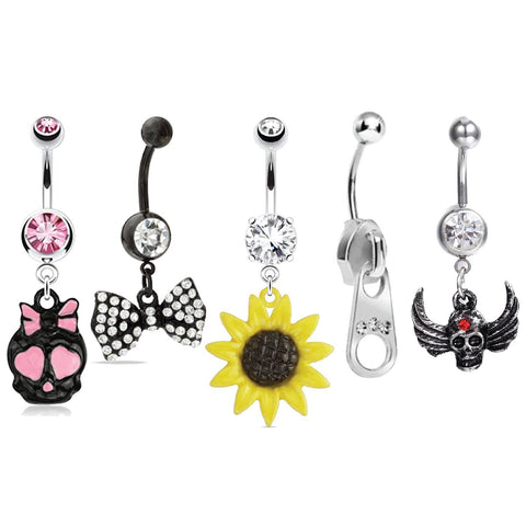 BodyJ4You 5 Pieces Dangle Belly Button Rings Wholesale Lot 14G Body Jewelry Piercings - BodyJ4you